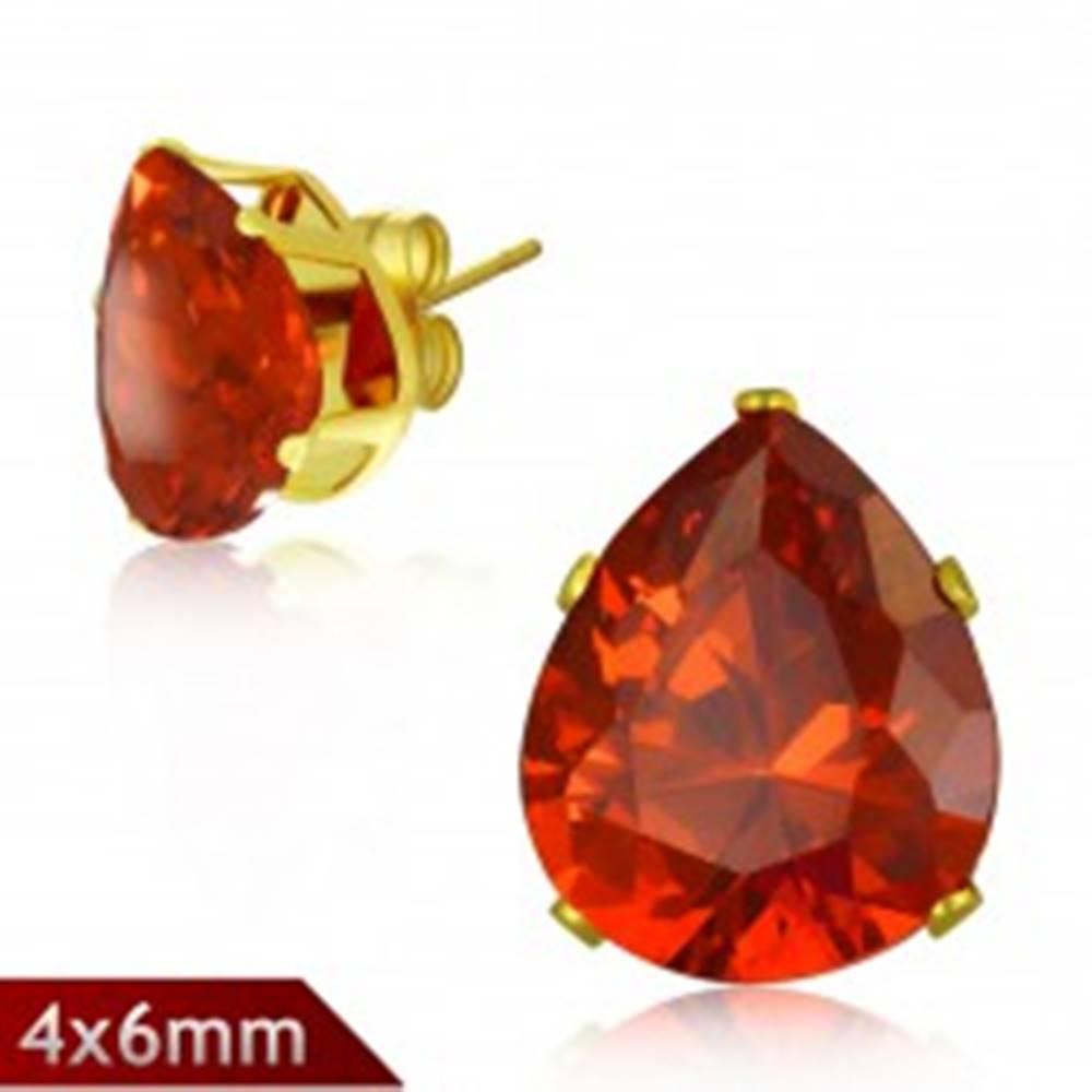 Šperky eshop Puzetové náušnice z ocele 316L, trblietavá slza oranžovej farby