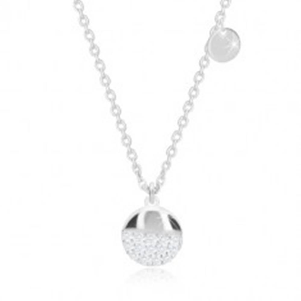Šperky eshop Strieborný 925 náhrdelník - plochý krúžok, väčší kruh s ligotavými zirkónmi
