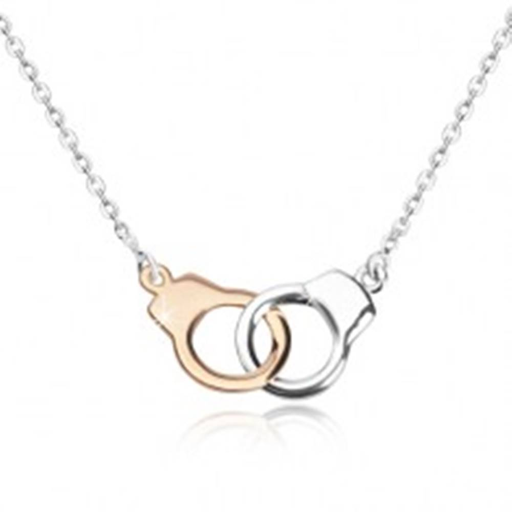 Šperky eshop Strieborný náhrdelník 925 - putá v dvojfarebnej kombinácii, ligotavá retiazka