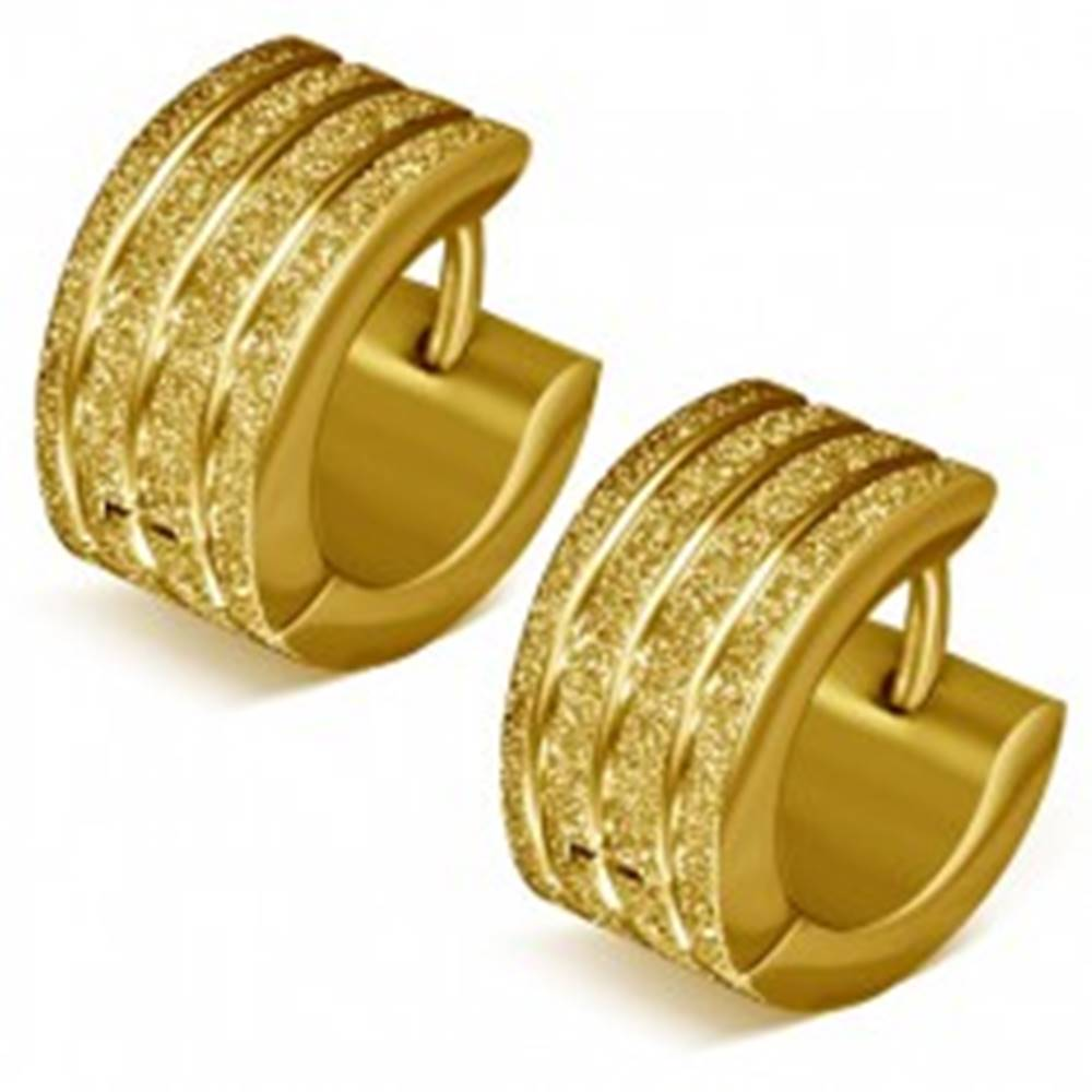 Šperky eshop Náušnice z ocele - pieskové krúžky zlatej farby, lesklé ryhy
