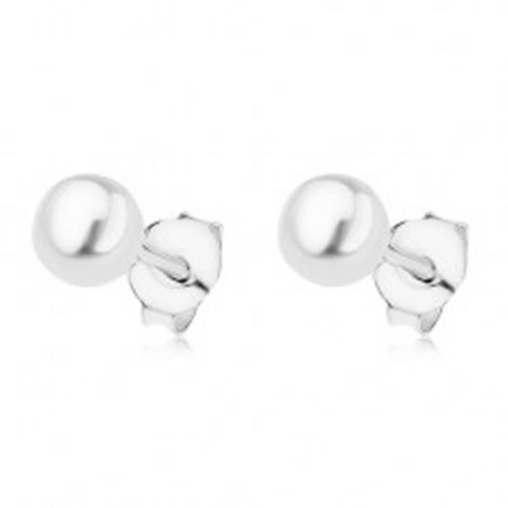 Šperky eshop Puzetové náušnice zo striebra 925, biela guľatá perlička, 5 mm