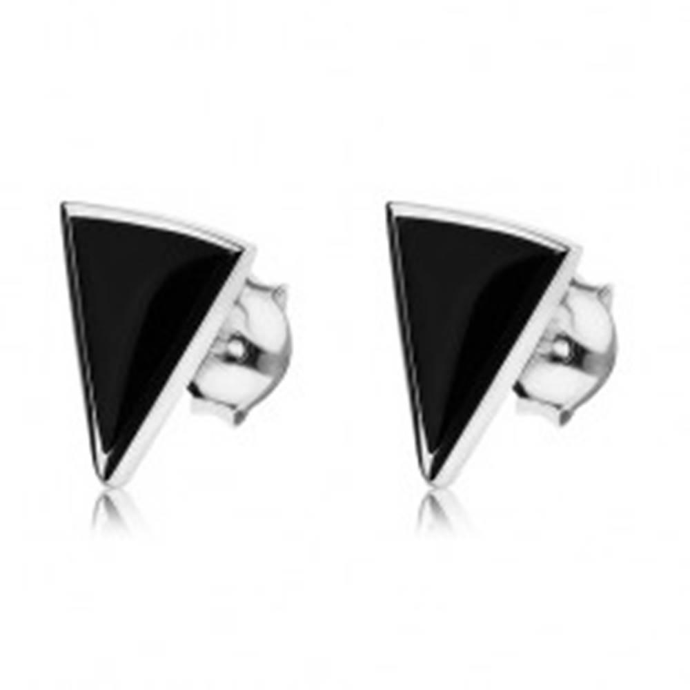 Šperky eshop Puzetové náušnice zo striebra 925, čierny ónyxový trojuholník, lesklá kontúra