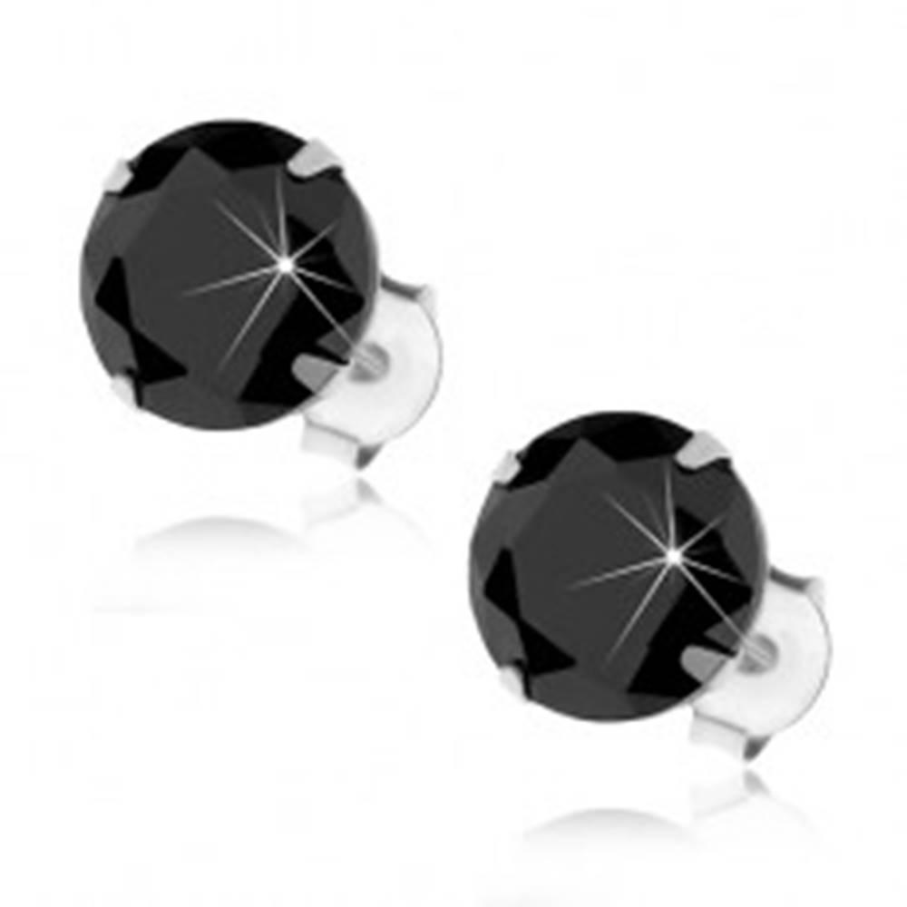 Šperky eshop Puzetové náušnice zo striebra 925, okrúhly čierny zirkónik v kotlíku, 8 mm