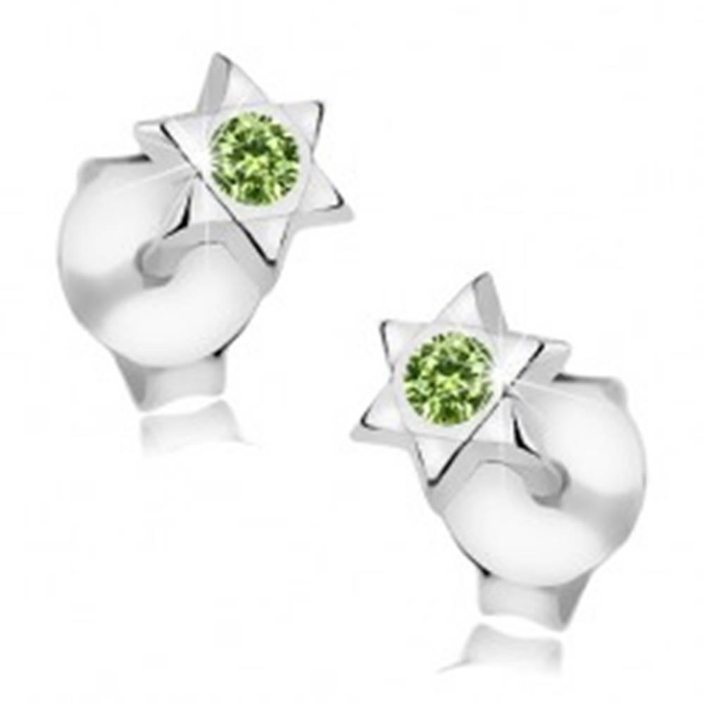 Šperky eshop Strieborné 925 náušnice, Dávidova hviezda, okrúhly zelený Swarovski krištáľ