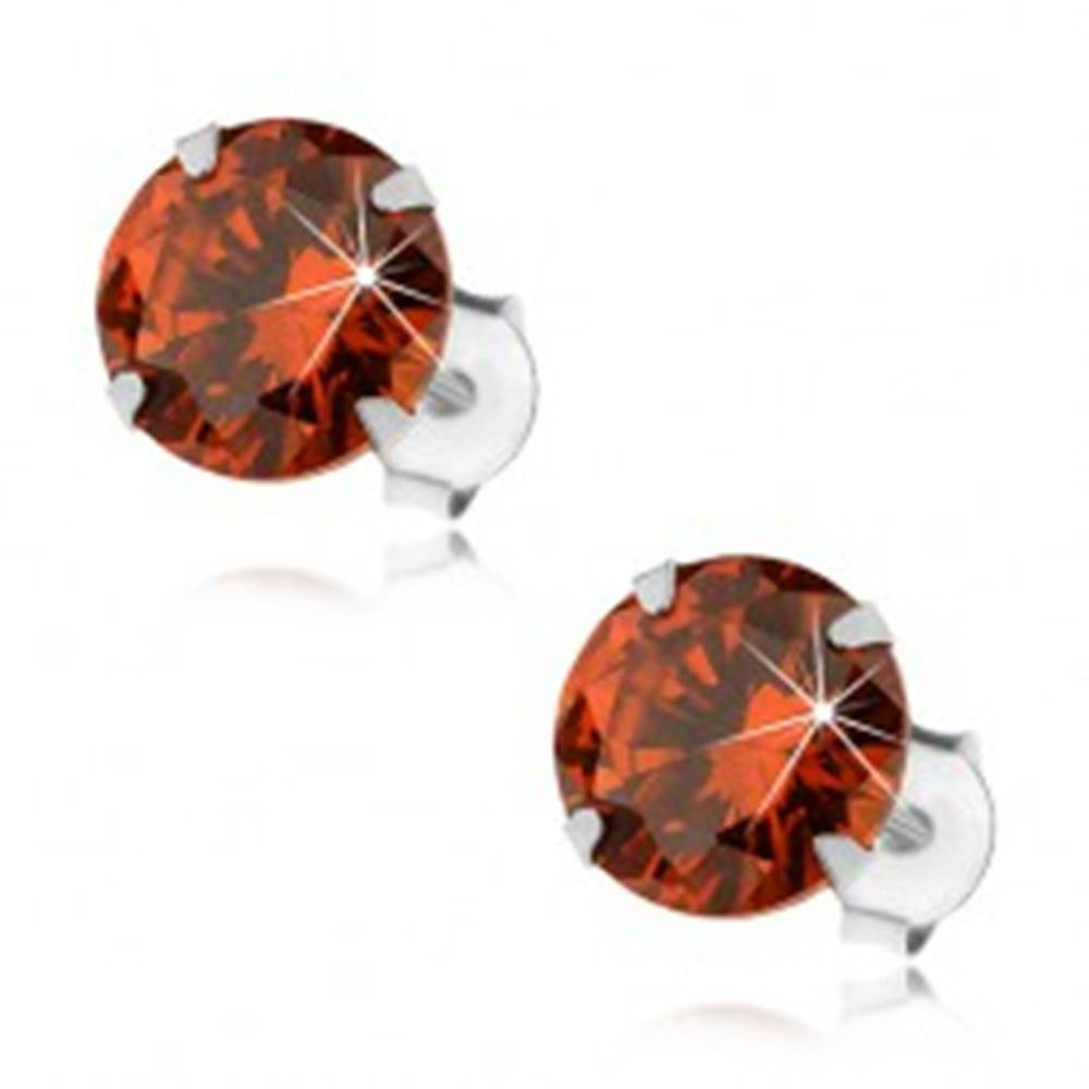 Šperky eshop Strieborné 925 náušnice, okrúhly zirkón v oranžovom odtieni, 8 mm