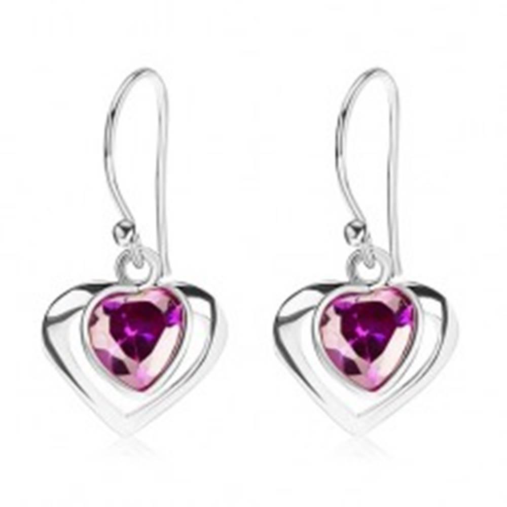 Šperky eshop Strieborné náušnice 925, kontúra srdca, srdcový zirkón - fialový odtieň, afroháčik