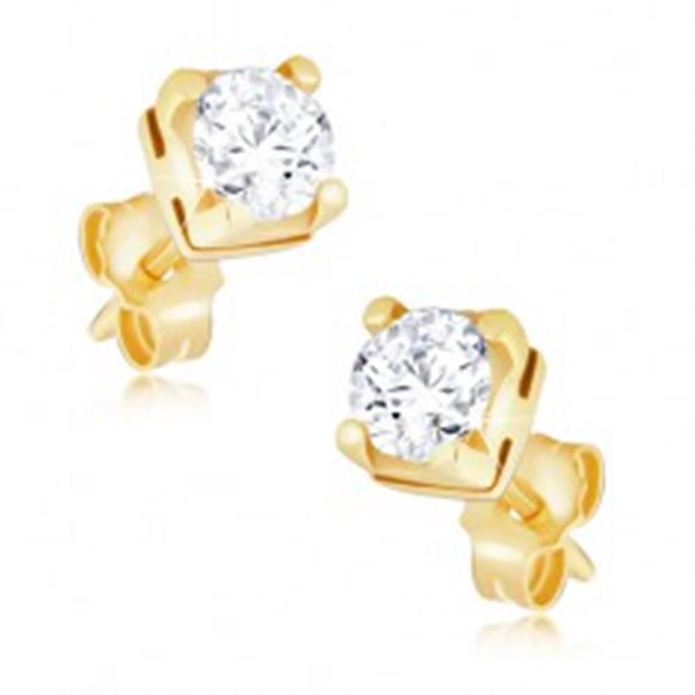 Šperky eshop Zlaté náušnice 585 - okrúhly zirkón v dvojitej štvorcovej objímke