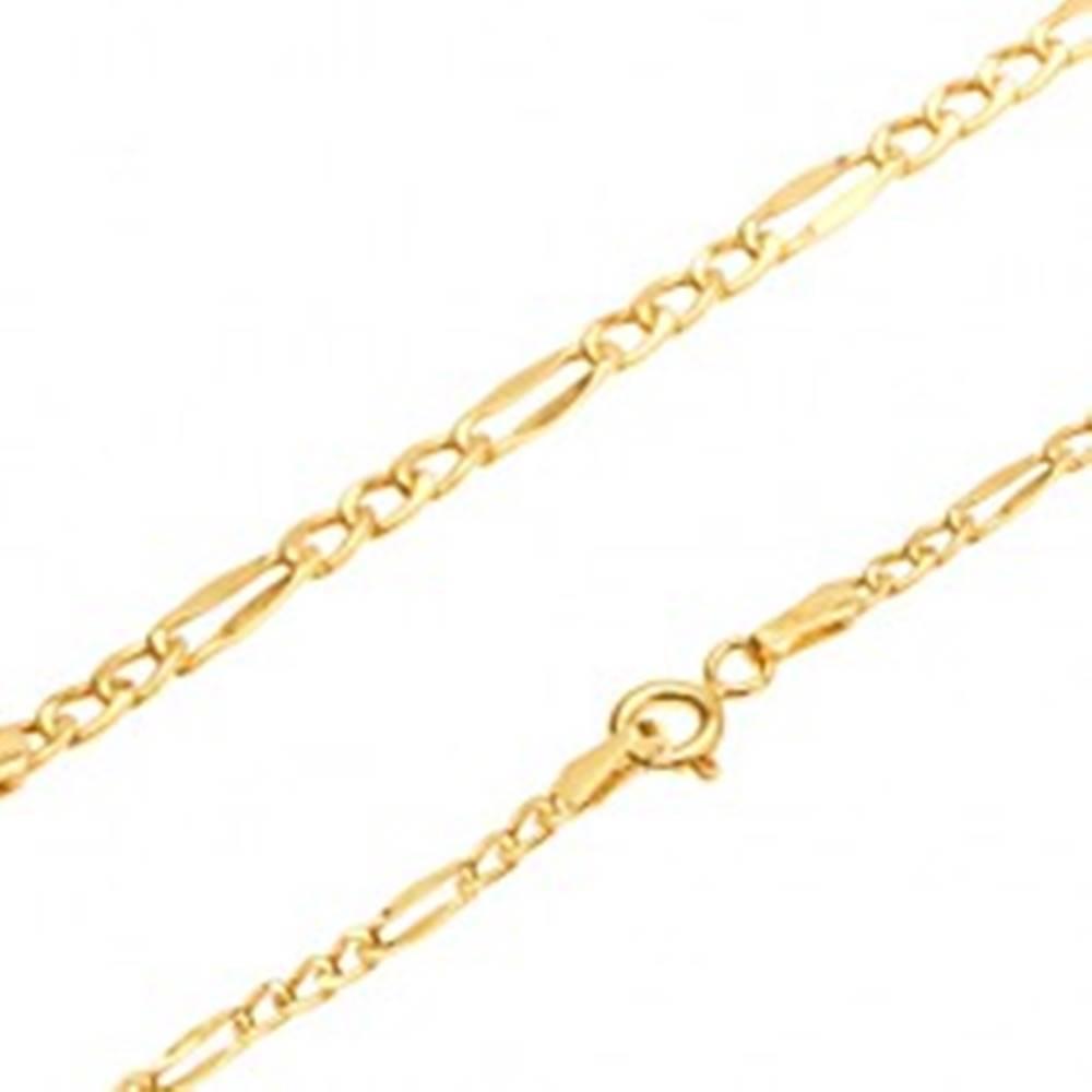 Šperky eshop Lesklá zlatá retiazka 585, tri oválne očká, sploštené podlhovasté očko, 550 mm