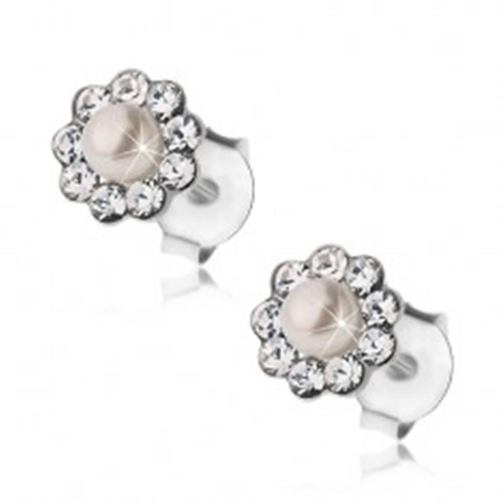 Šperky eshop Náušnice, striebro 925, puzetky, kvet - krištáliky Preciosa a biela perlička