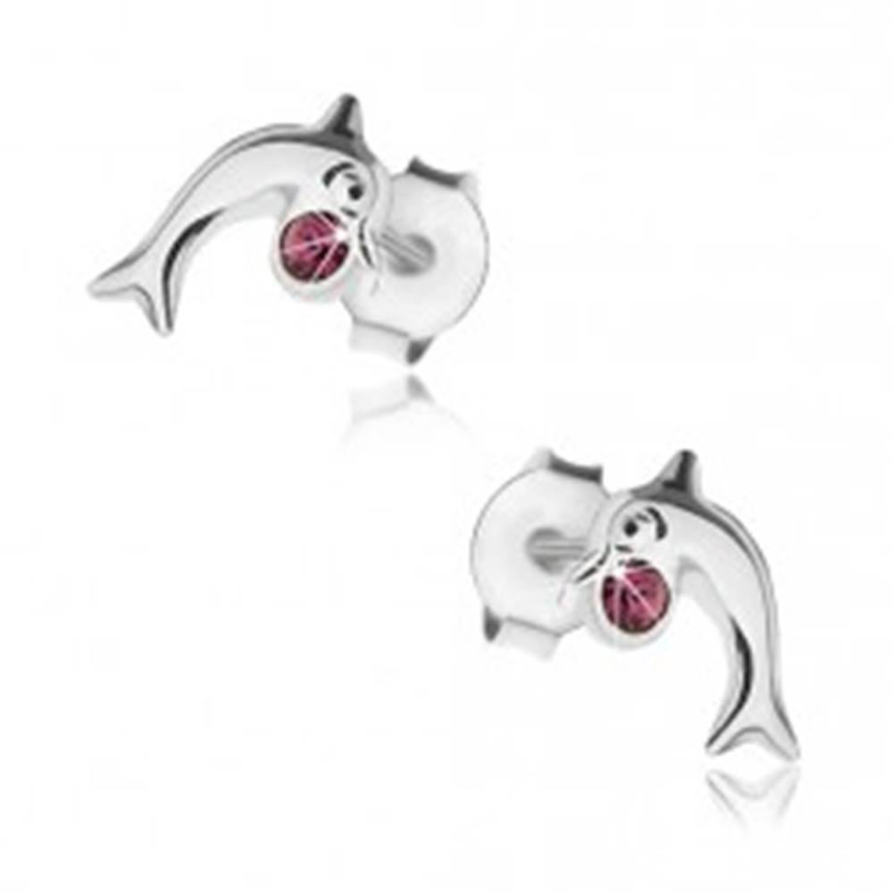 Šperky eshop Puzetové náušnice, striebro 925, lesklý skáčuci delfín, krištálik fialovej farby