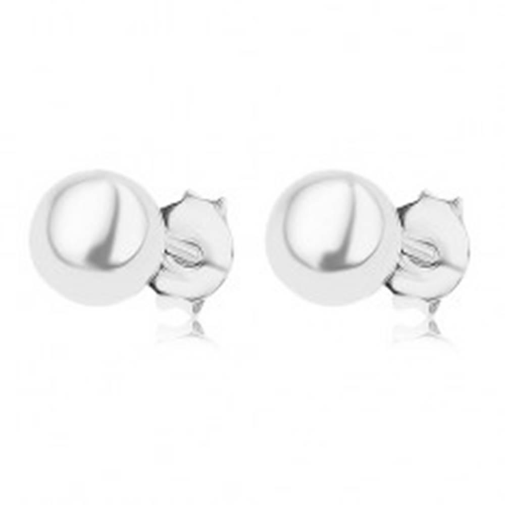 Šperky eshop Puzetové náušnice zo striebra 925, guľatá perla bielej farby, 6 mm