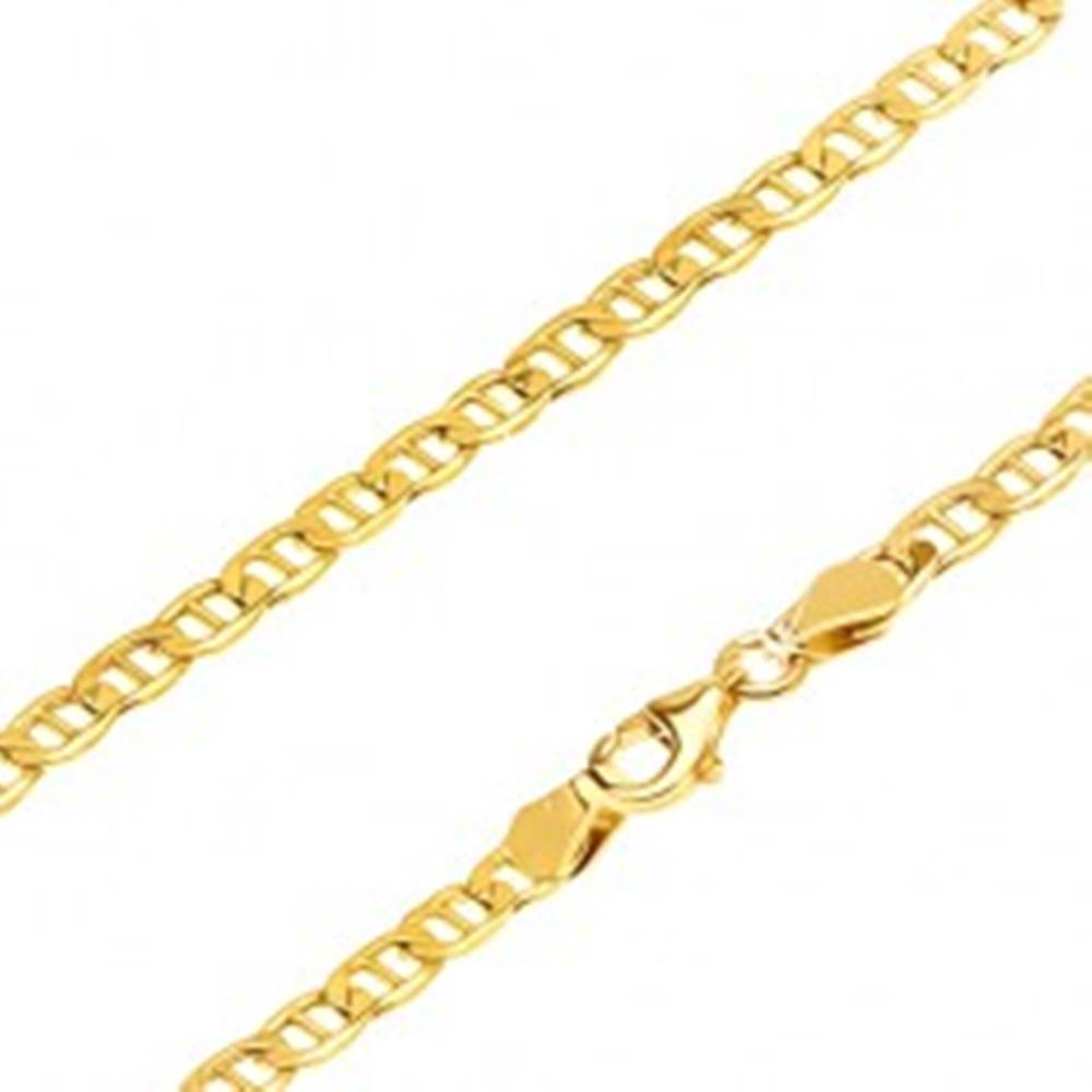 Šperky eshop Retiazka zo žltého 14K zlata - širšie oválne očká s tenkou paličkou, 550 mm