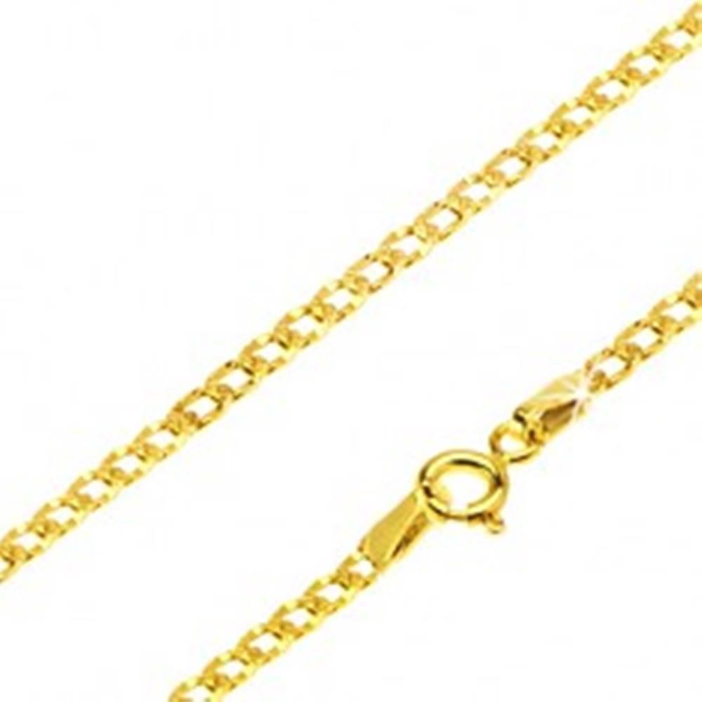 Šperky eshop Zlatá retiazka 585 - široké očká zdobené drobnými jamkami, 450 mm