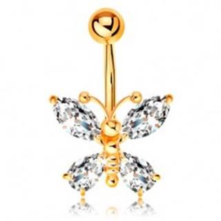 Piercing do pupka zo žltého 14K zlata - motýľ so zirkónovými krídlami čírej farby