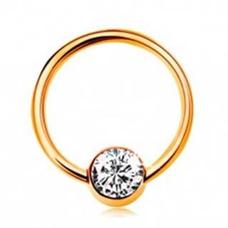 Piercing v žltom 14K zlate - lesklý krúžok s guličkou a čírym zirkónom, 10 mm