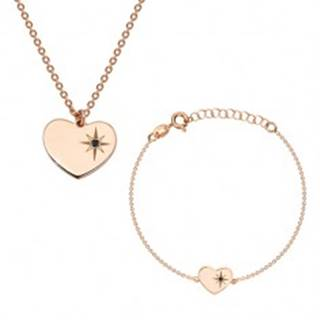 Strieborný 925 set ružovozlatej farby - náramok a náhrdelník, srdce s Polárkou a diamantom