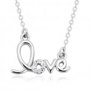 """Strieborný náhrdelník 925 - ozdobne tvarovaný nápis """"love"""", ligotavé brilianty"""