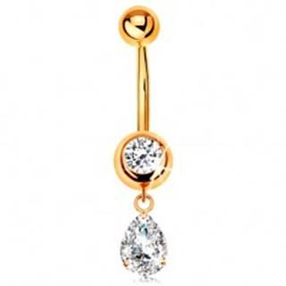Zlatý 585 piercing do pupku - okrúhly zirkón v objímke, visiaca zirkónová slza