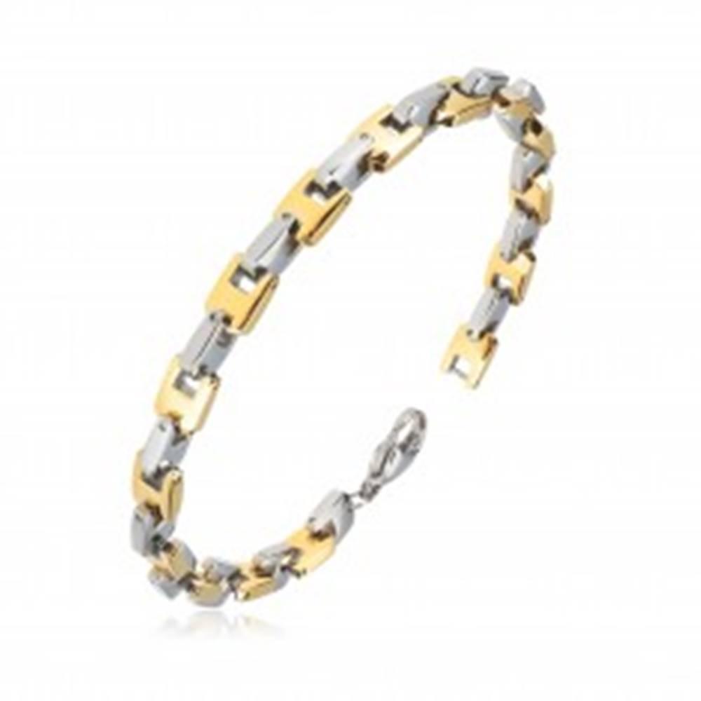 Šperky eshop Náramok z ocele - U-články v zlatom a striebornom farebnom odtieni, 6 mm