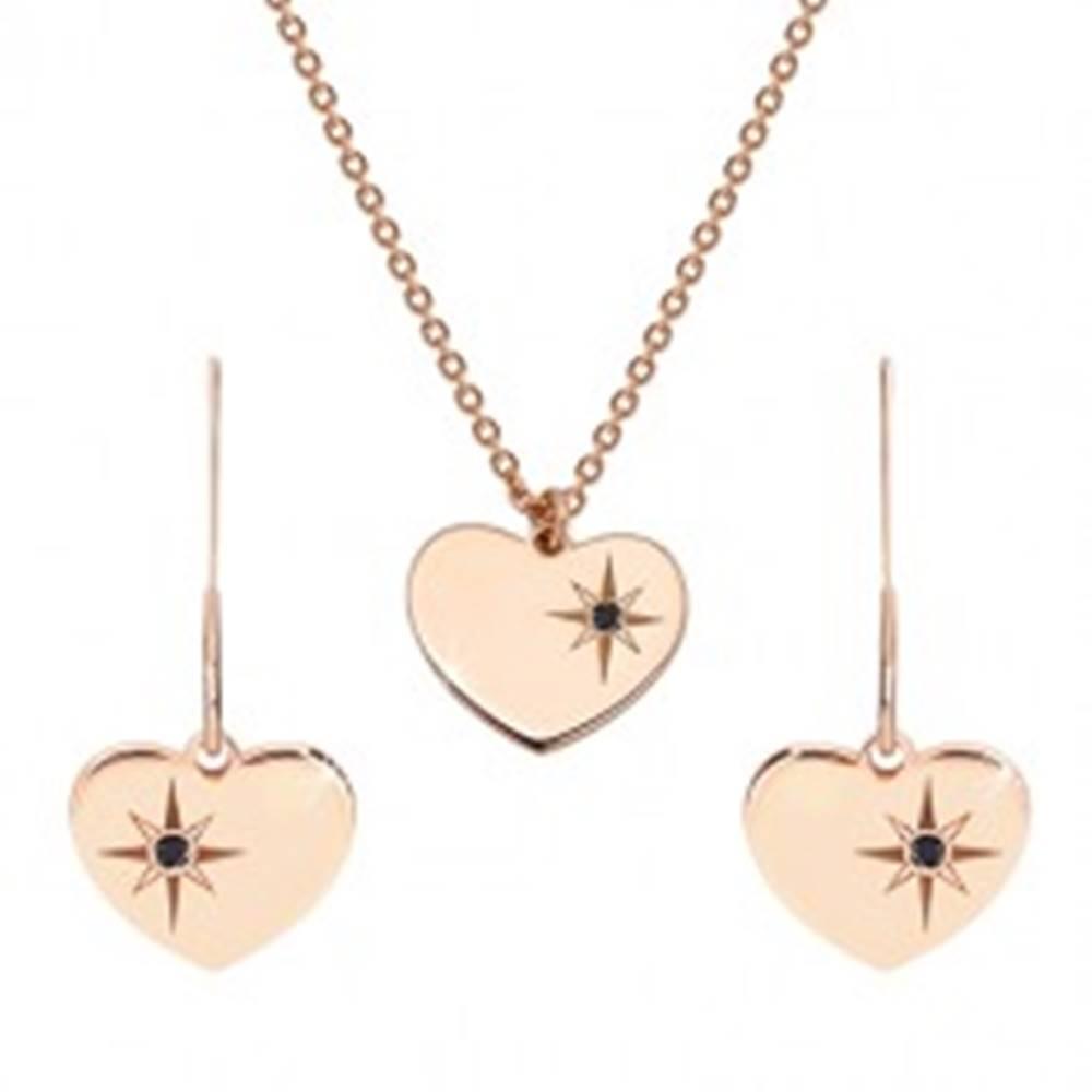Šperky eshop Sada ružovozlatej farby, striebro 925 - náušnice a náhrdelník, srdce s Polárkou a diamant