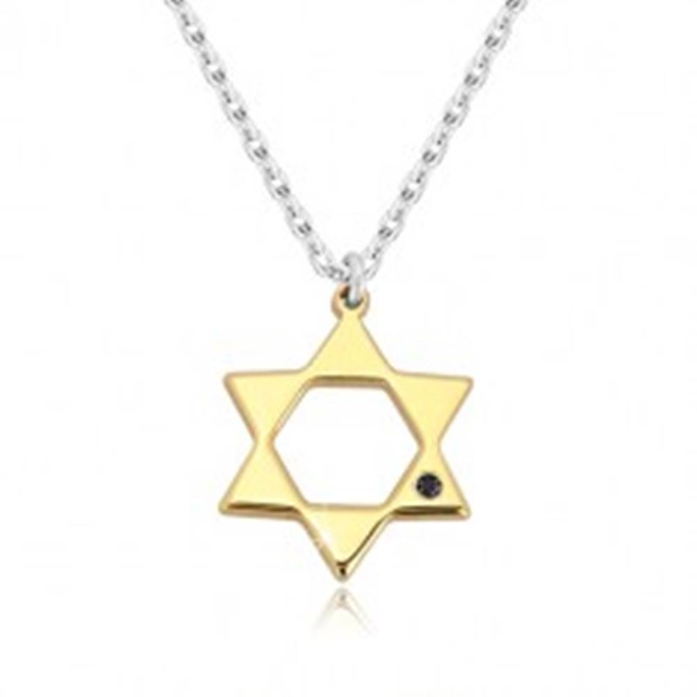 Šperky eshop Strieborný 925 náhrdelník - Dávidova hviezda v zlatom odtieni, čierny diamant