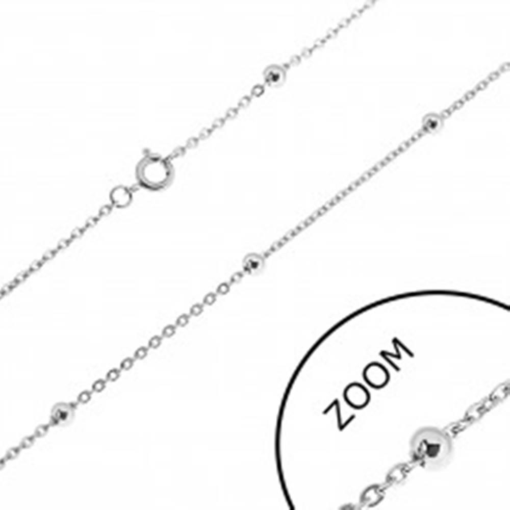 Šperky eshop Oceľová retiazka - oválne očká a guličky