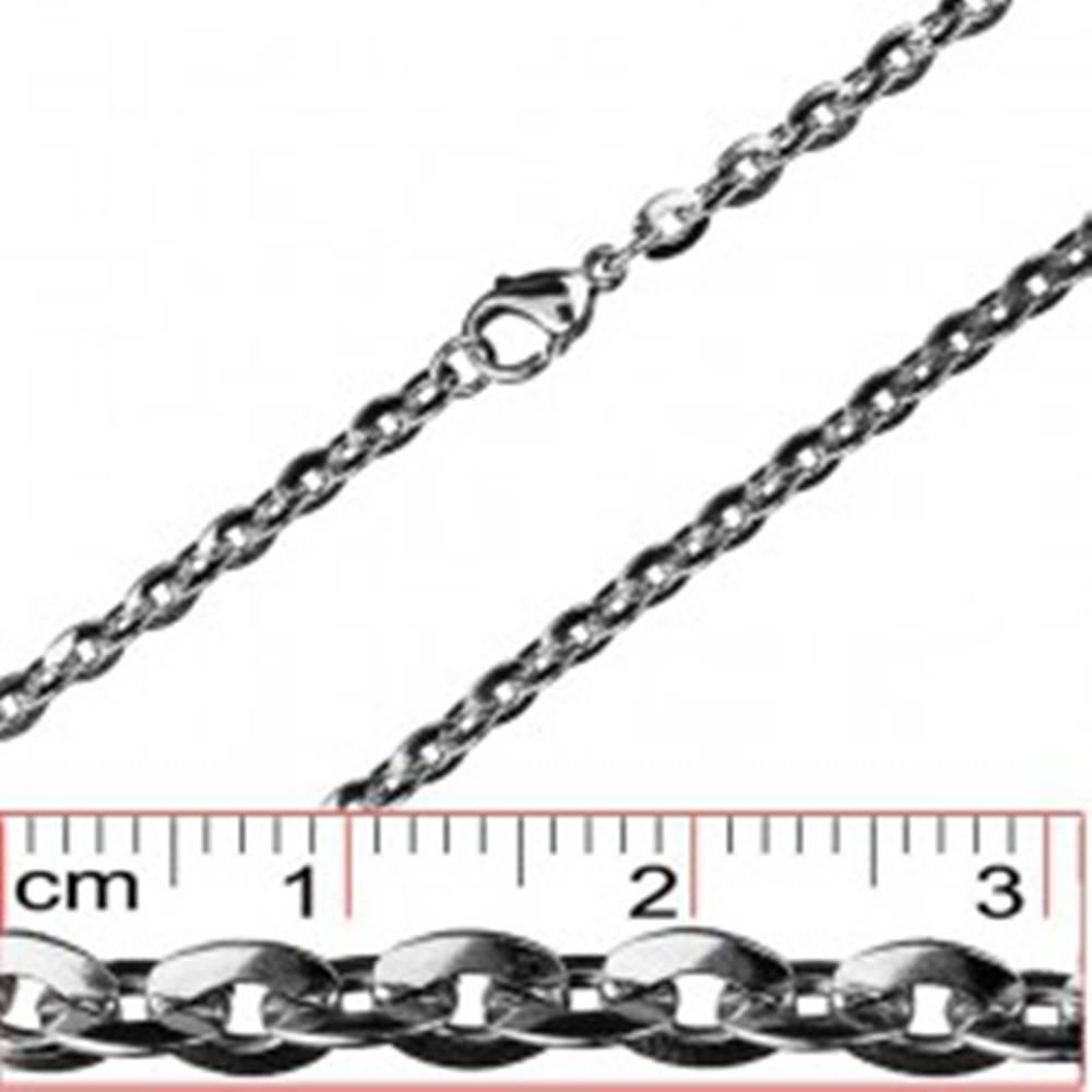Šperky eshop Retiazka z ocele - sploštené oválne očká, 4,5 mm
