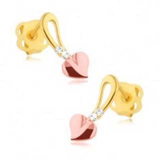 Briliantové náušnice - 14K žlté a ružové zlato, srdiečko na stopke, diamanty