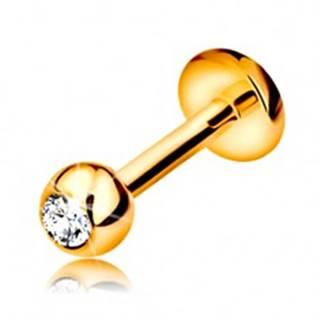 Briliantový piercing do pery a brady, 14K zlato - gulička s diamantom, 6 mm