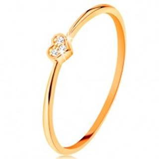 Prsteň zo žltého 14K zlata - srdiečko zdobené okrúhlymi čírymi zirkónmi - Veľkosť: 49 mm