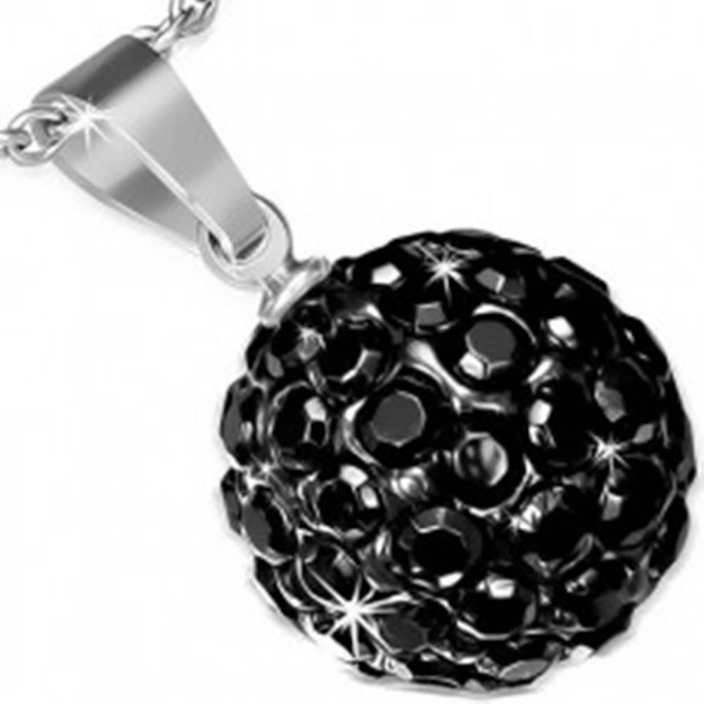 Šperky eshop Oceľový prívesok so Shamballa guličkou, čierne ligotavé zirkóny, 12 mm