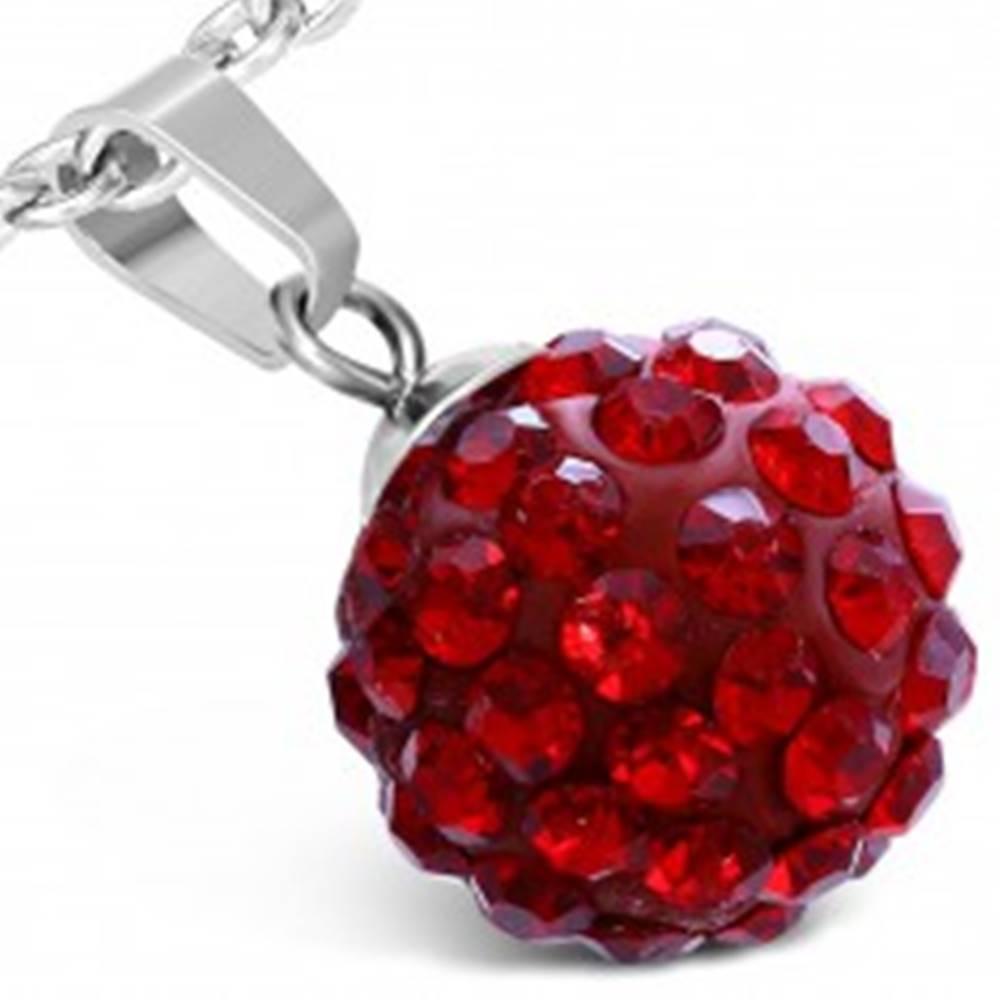 Šperky eshop Prívesok z chirurgickej ocele - červená gulička, ligotavé kamienky, 12 mm