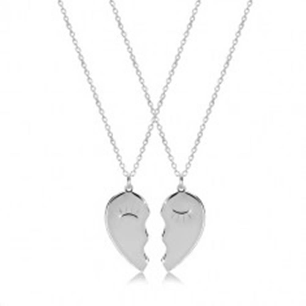 Šperky eshop Set zo striebra 925 - dva náhrdelníky, rozpolené srdiečko so zažmúrenými očkami