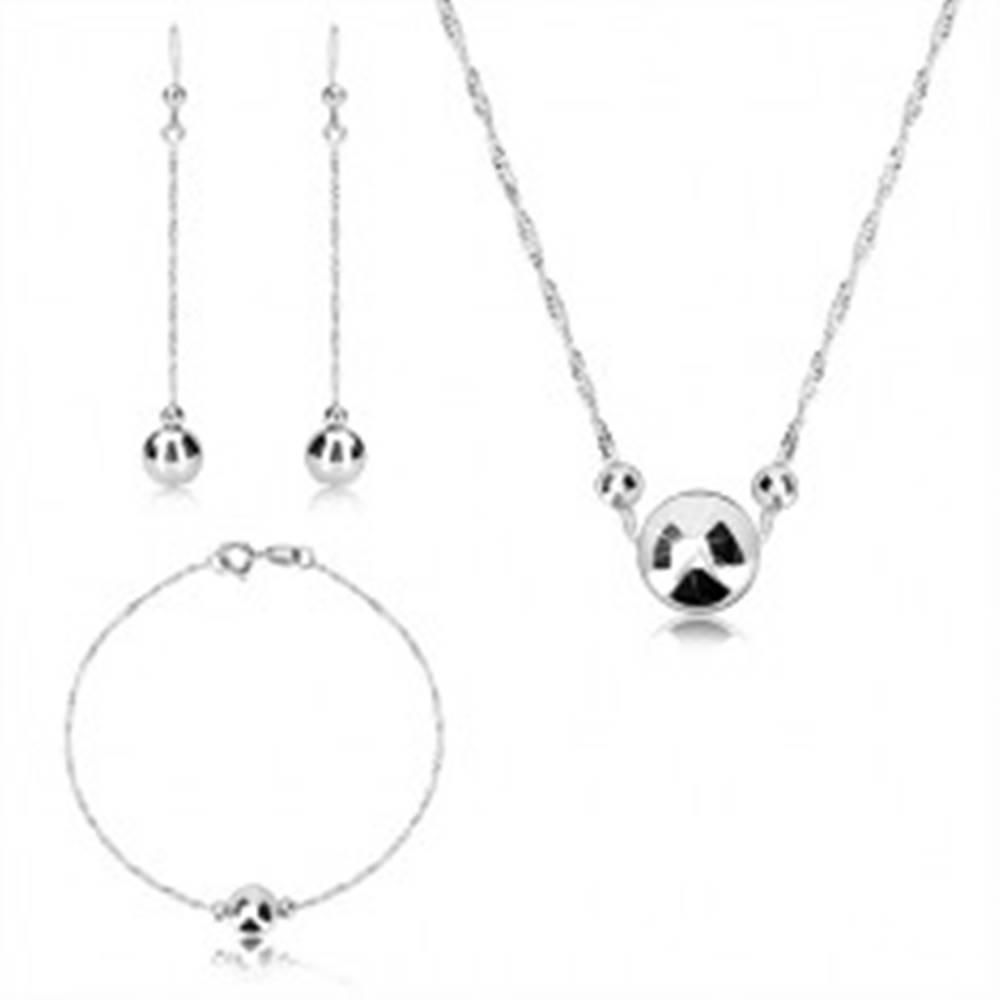 Šperky eshop Trojset, striebro 925 - gulička s dvomi menšími guľôčkami, špirálovitá retiazka