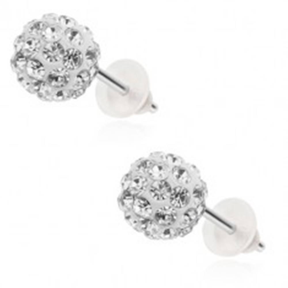 Šperky eshop Oceľové náušnice - biele Shamballa guličky, zirkóny čírej farby, 8 mm