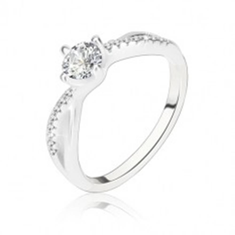 Šperky eshop Zásnubný prsteň, striebro 925, zvlnené prepletené ramená, číry zirkón - Veľkosť: 56 mm