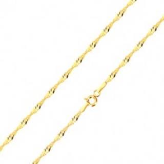 Retiazka zo žltého zlata 585 - lesklé očká oválneho tvaru, špirála, 420 mm