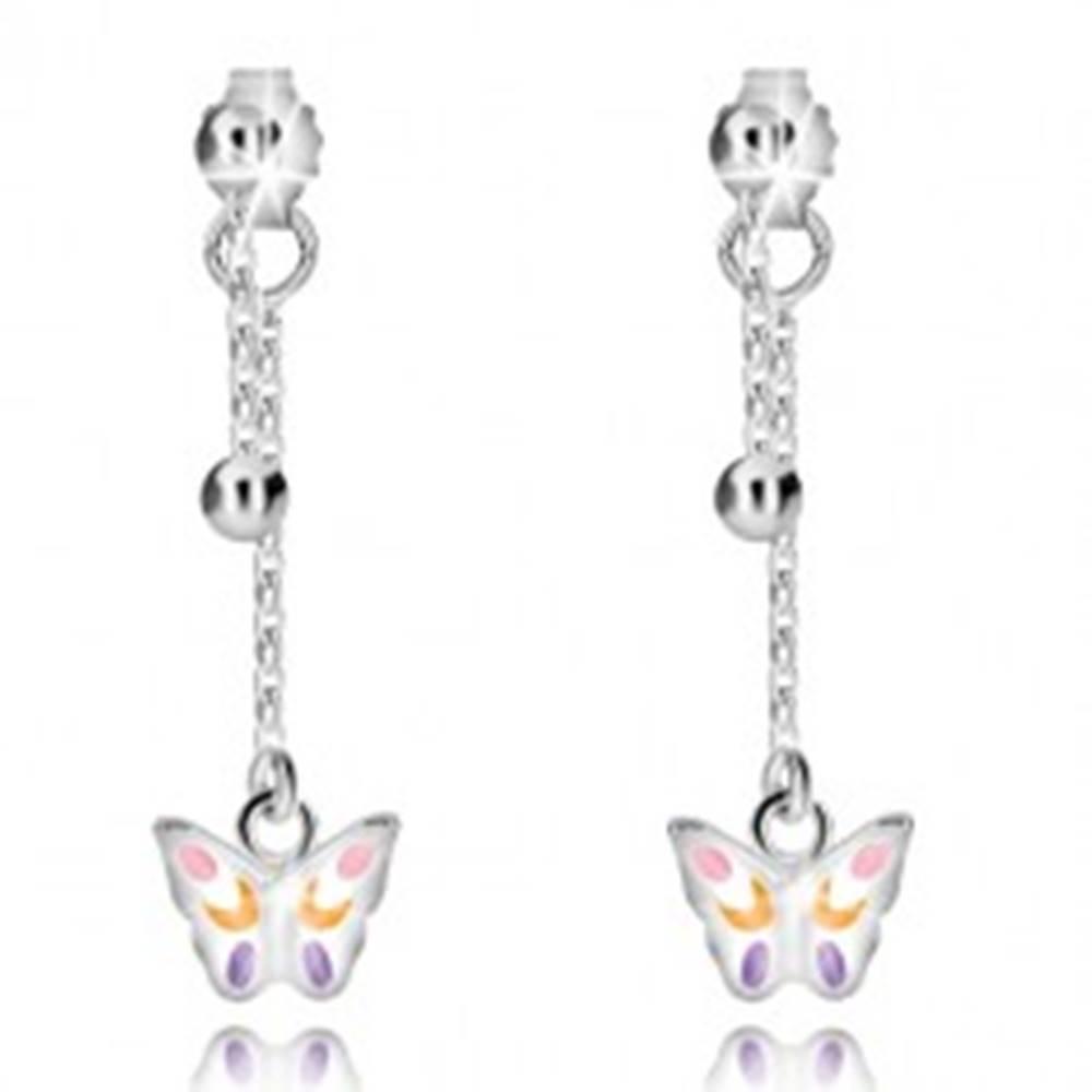 Šperky eshop Strieborné náušnice 925 - gulička a motýlik na retiazke, puzetky s ozdobou