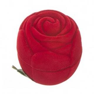 Zamatová krabička na prsteň - červená ruža s lístkami