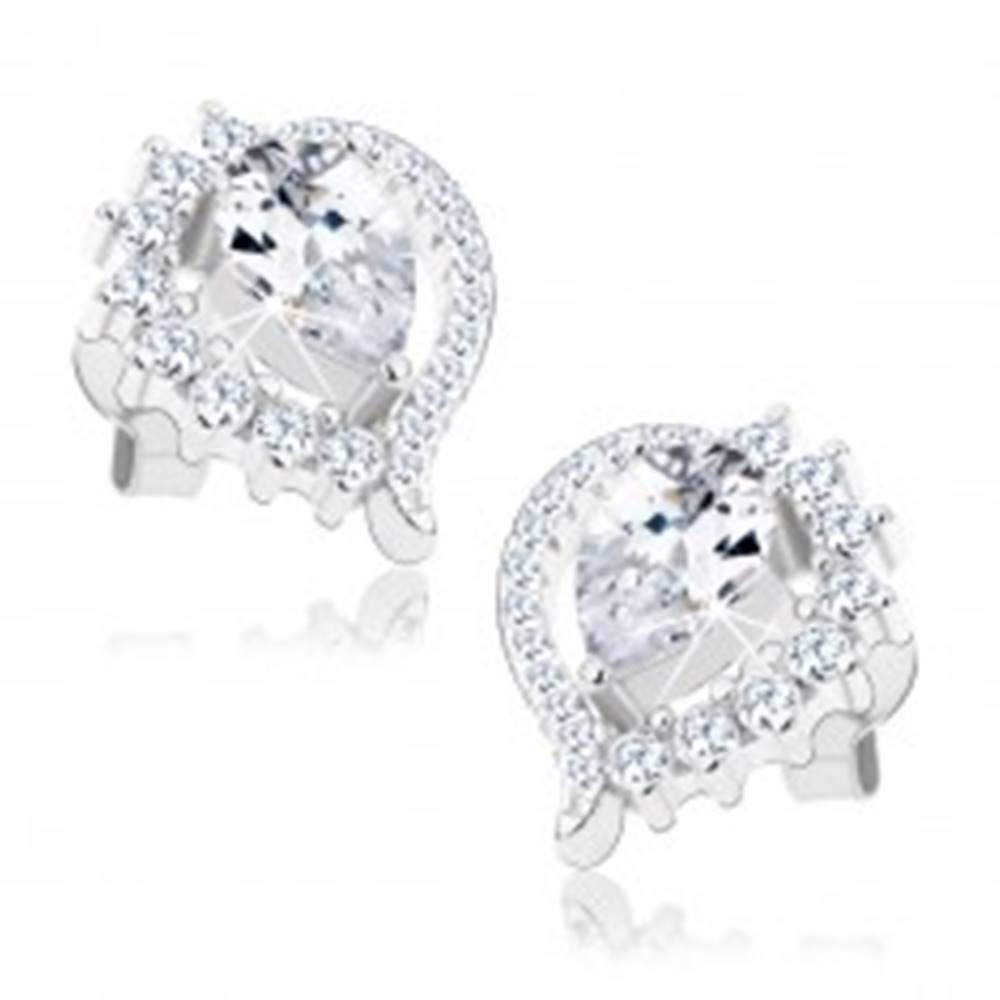 Šperky eshop Náušnice, striebro 925, asymetrický obrys slzy, brúsený číry zirkón