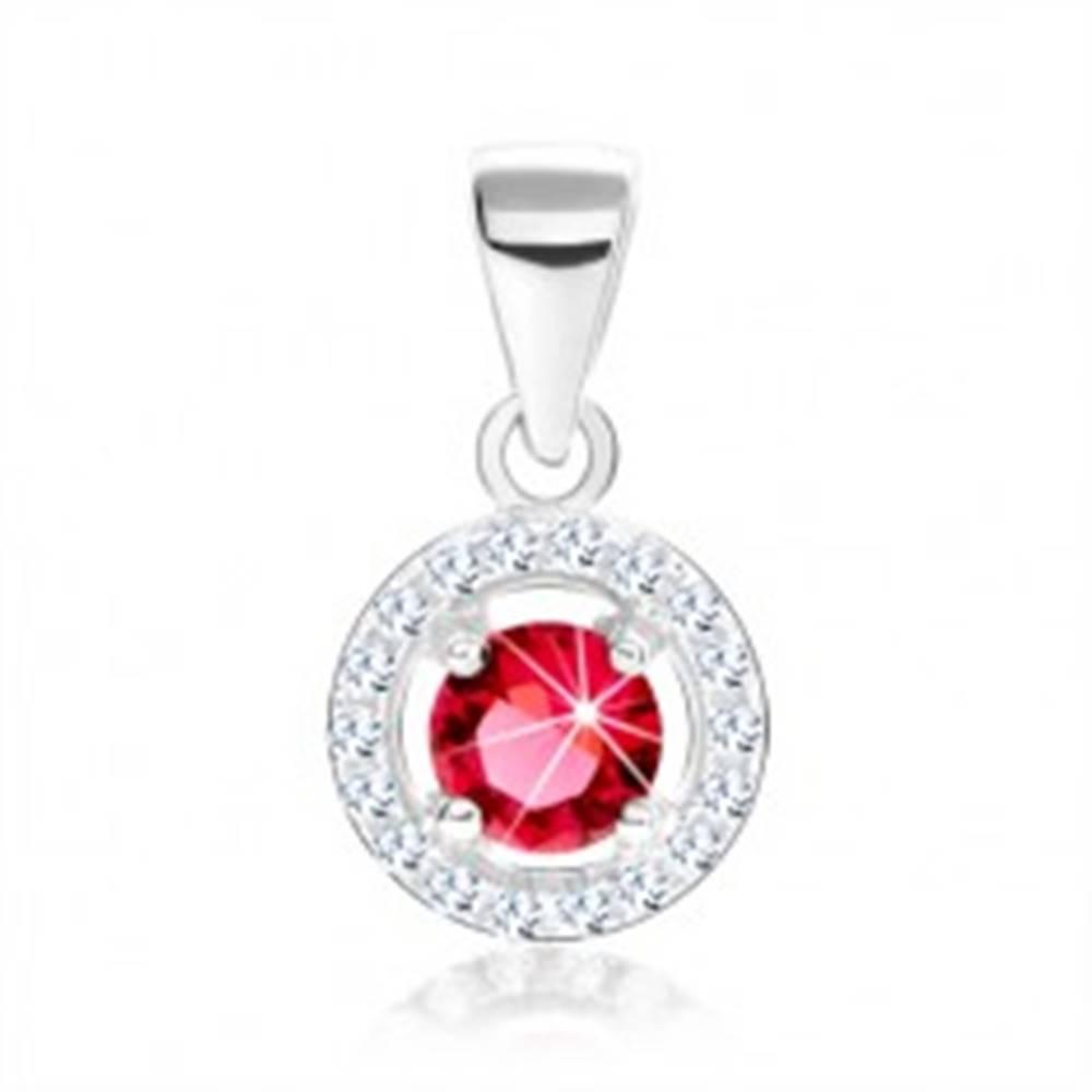 Šperky eshop Prívesok, striebro 925, číry obrys kruhu, ružový okrúhly zirkón