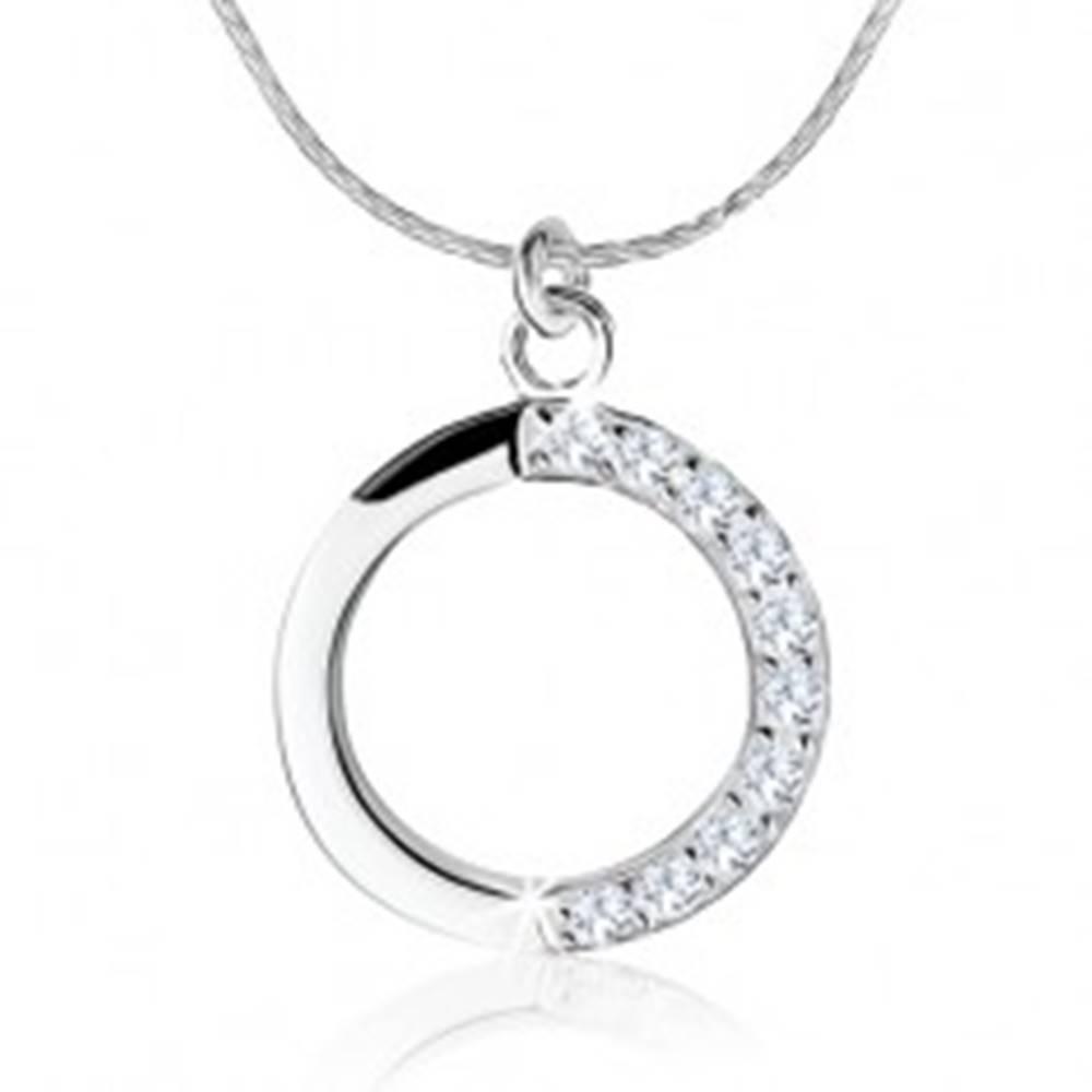 Šperky eshop Strieborný náhrdelník 925, obrys kruhu, číre zirkóny na jednej polovici