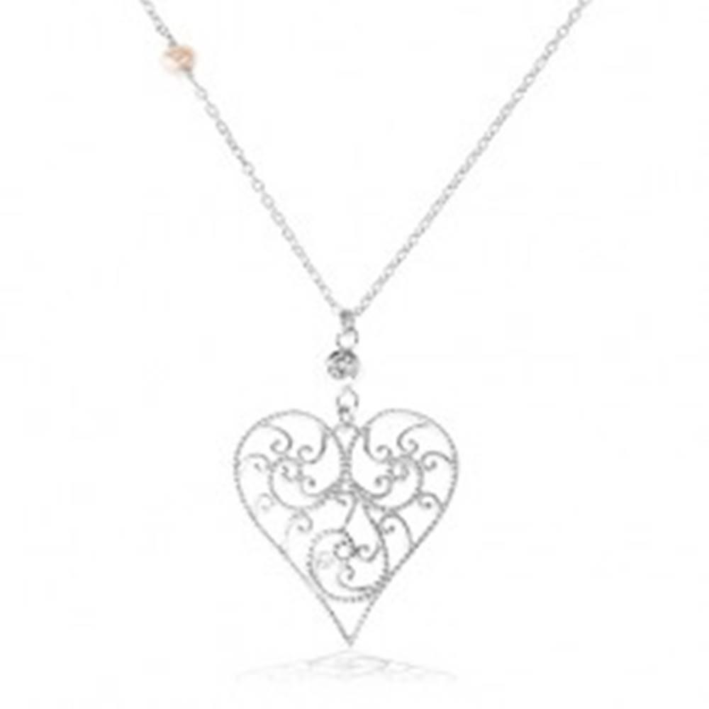 Šperky eshop Strieborný náhrdelník 925, vypuklé srdce zdobené filigránom, číry zirkón