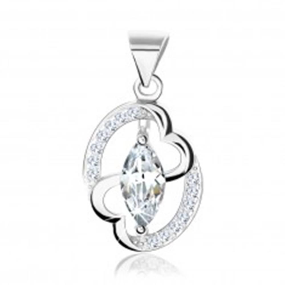 Šperky eshop Strieborný prívesok 925, kontúra elipsy, zirkónové zrnko, prepojené srdcia