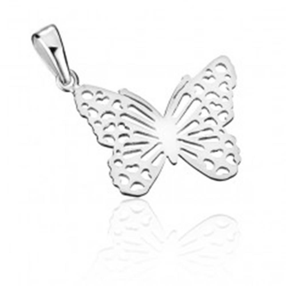 Šperky eshop Strieborný prívesok 925 - plochý filigránový motýľ