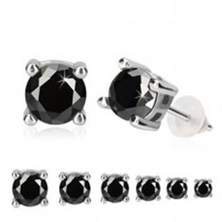 Strieborné náušnice 925 - čierny okrúhly zirkón v kotlíku, obdĺžnikový výrez, puzetka - Veľkosť zirkónu: 3 mm