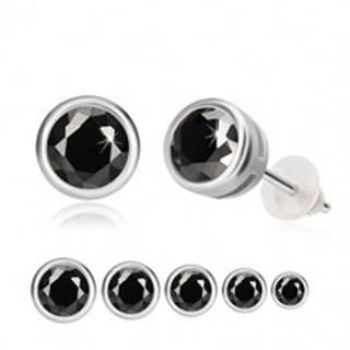 Strieborné náušnice 925 - čierny zirkón, okrúhla objímka, puzetky  - Hlavička: 3 mm