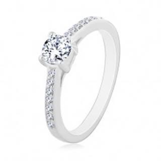 Zásnubný prsteň zo striebra 925, okrúhly číry zirkón, tenké zirkónové ramená - Veľkosť: 50 mm