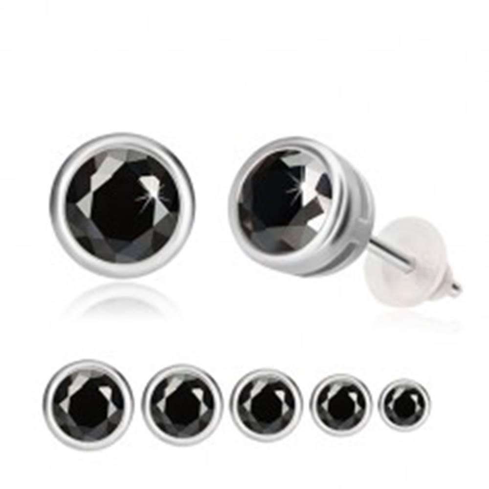 Šperky eshop Strieborné náušnice 925 - čierny zirkón, okrúhla objímka, puzetky  - Hlavička: 3 mm