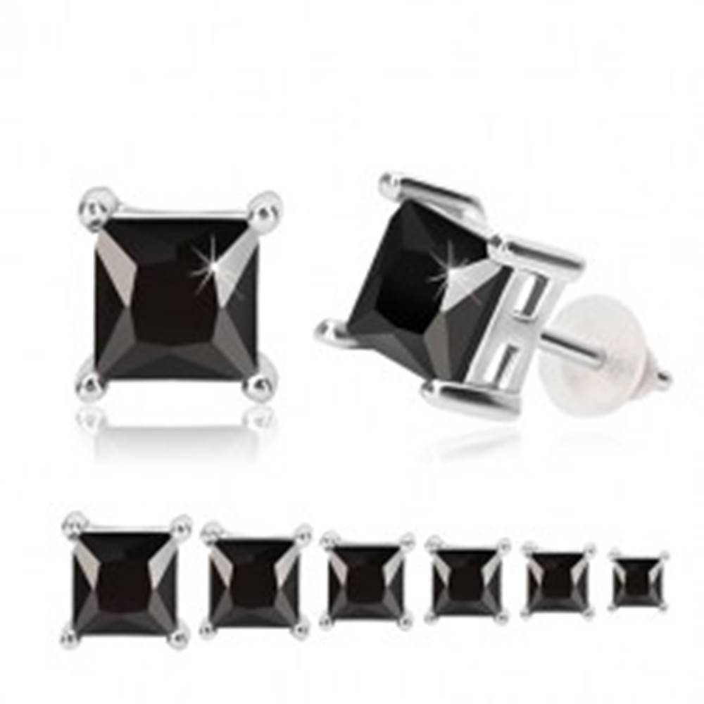 Šperky eshop Strieborné náušnice 925 - čierny zirkón, štvorcový kotlík, puzetky - Veľkosť zirkónu: 3 mm